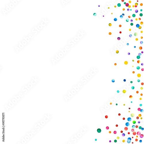 Dense Watercolor Confetti On White Background Rainbow