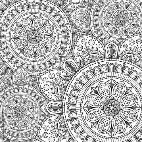 Doodle Pattern With Ethnic Mandala Ornament Black And