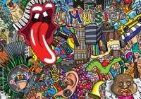"""""""Music collage on a large brick wall, graffiti"""" Stock ..."""