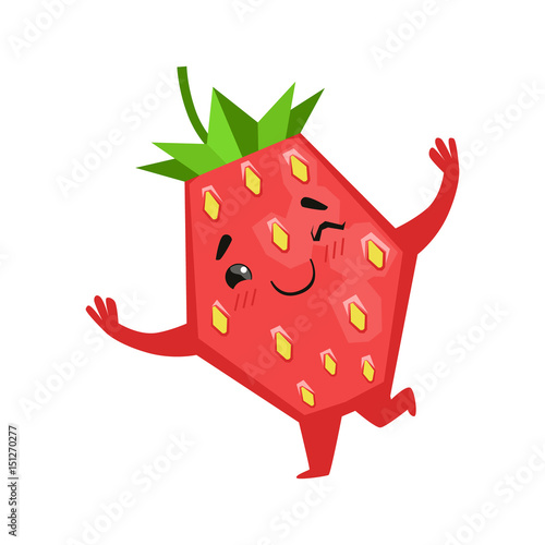 happy funny strawberry dancing