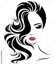 """women long hair style icon logo"