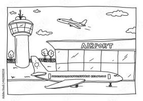 """""""Ausmalbild   Flughafen"""" Stockfotos und lizenzfreie Bilder ..."""