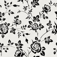 """""""Seamless pattern with black rose silhouette on white ..."""