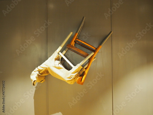 chair upside down on wall fisher price laugh and learn floating the stock photo royalty free