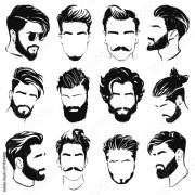 """vector illustration of men hairstyle"