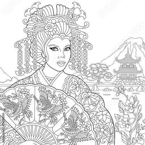 Coloring Page Of Geisha Japanese Dancing Actress