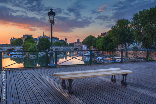 Sunrise Over Paris France With Pont Des Arts And The River