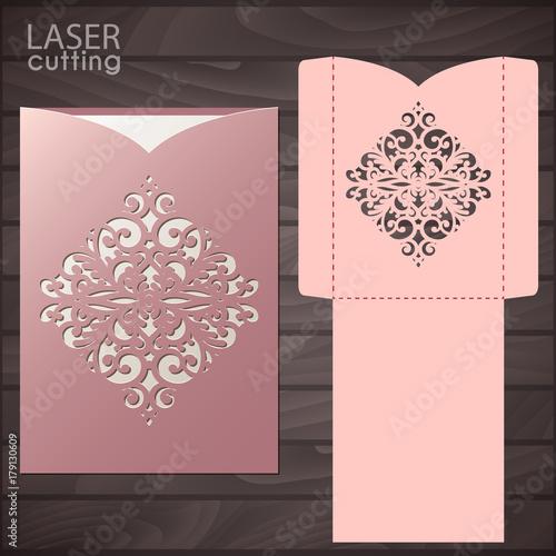 Die Laser Cut Wedding Card Vector Template Invitation Envelope Wedding Lace Invitation Mockup