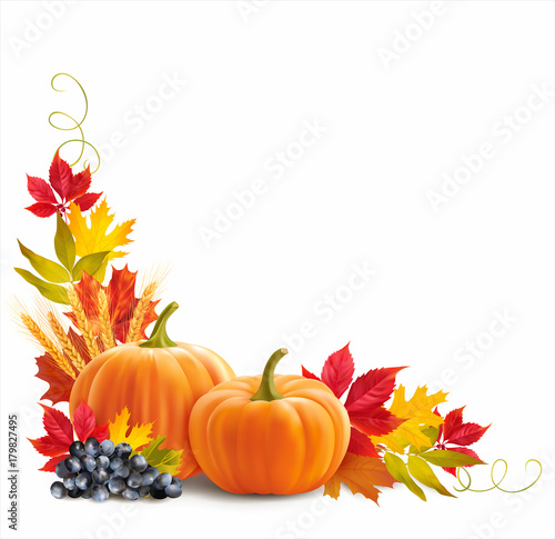 Quot Thanksgiving Border With Pumpkins Wheat Ears And Leaves