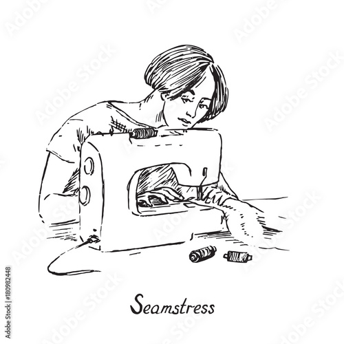 List of Synonyms and Antonyms of the Word: seamstress sketch