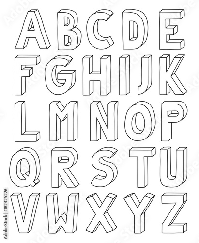 3d outline alphabet from