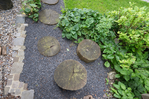 "Gartenweg aus Holz und Stein"" Stock photo and royalty-free images on"