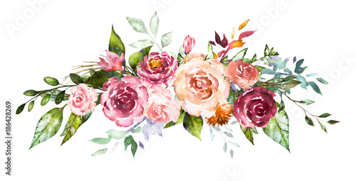 Watercolor flowers Hand painted floral illustration