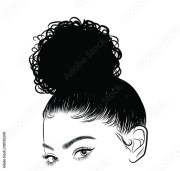 """""""hand-drawn black woman with curly"""