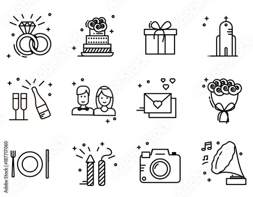 Wedding timeline outline icons set fichier vectoriel