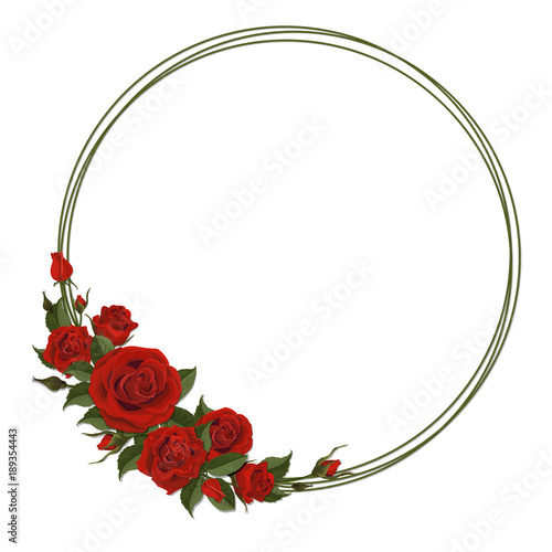Wreath With Red Rose Floral Design Decor For Greeting Or Wedding Card Round Frame Made Of