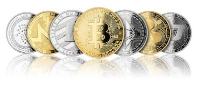 crypto currency coin panorama gold silver bitcoin ethereum monero litecoin dash iota ripple  isolated on white background