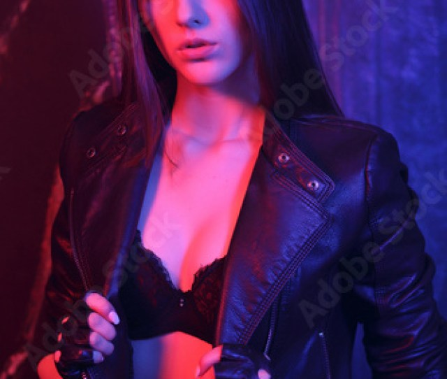 Gorgeous Sexy Young Woman In Lingerie And Black Leather Jacket Portrait Of A Beautiful Sexy