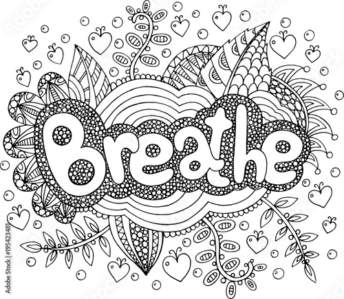 Coloring Page For Adults With Mandala And Breathe Word