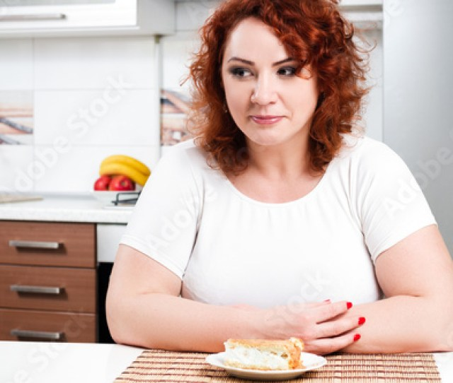Plus Size Girl Greedy Eats Sweet Pie Hungry Fat Model Sit By The Table And