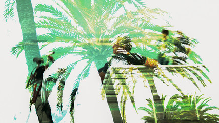Double exposure image of tropic palms and old man sitting, memories of youth