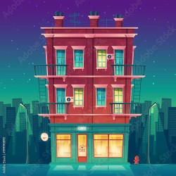 cartoon building apartment inside cafe night storey restaurant clock round vector multi modern residential architecture concept private contents comp similar