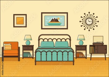 bedroom cartoon animated hotel interior retro flat apartment vector space linear 1970s 1960s outline equipment bed premium comp contents similar