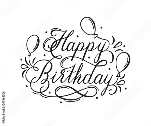 happy birthday lettering inscription
