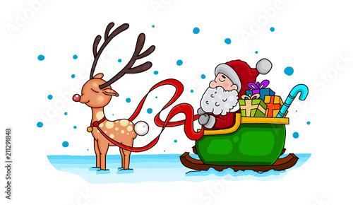 Weihnachtsmann Mit Schlitten Malvorlage