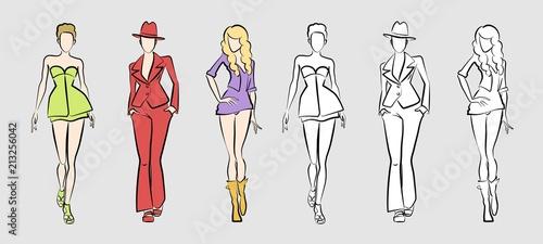 fashion catwalk models vector