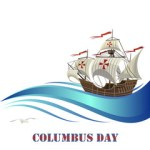 Sailing ship with stylized blue wave for Columbus Day design.