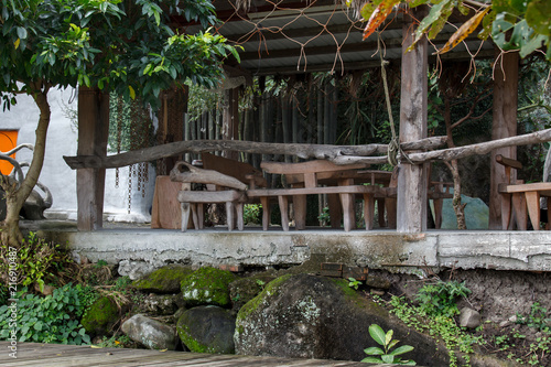 Beach House In Taiwan Weathered Wooden Furniture Laid