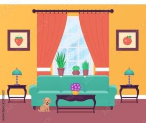cartoon room living lounge interior furniture window dog vector equipment flat comp contents similar