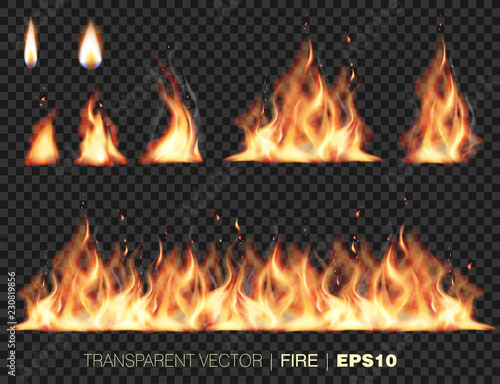 collection of realistic fire