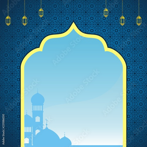 blue islamic background stock
