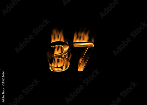 3d number 37 with