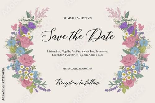Wedding Invitation Summer Fl Element Vector