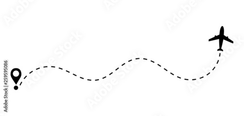 airplane dashed lines path
