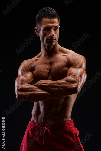 handsome muscular men flexing