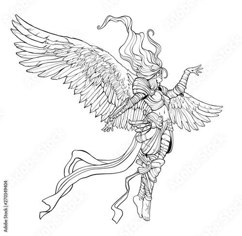 woman angel in armor