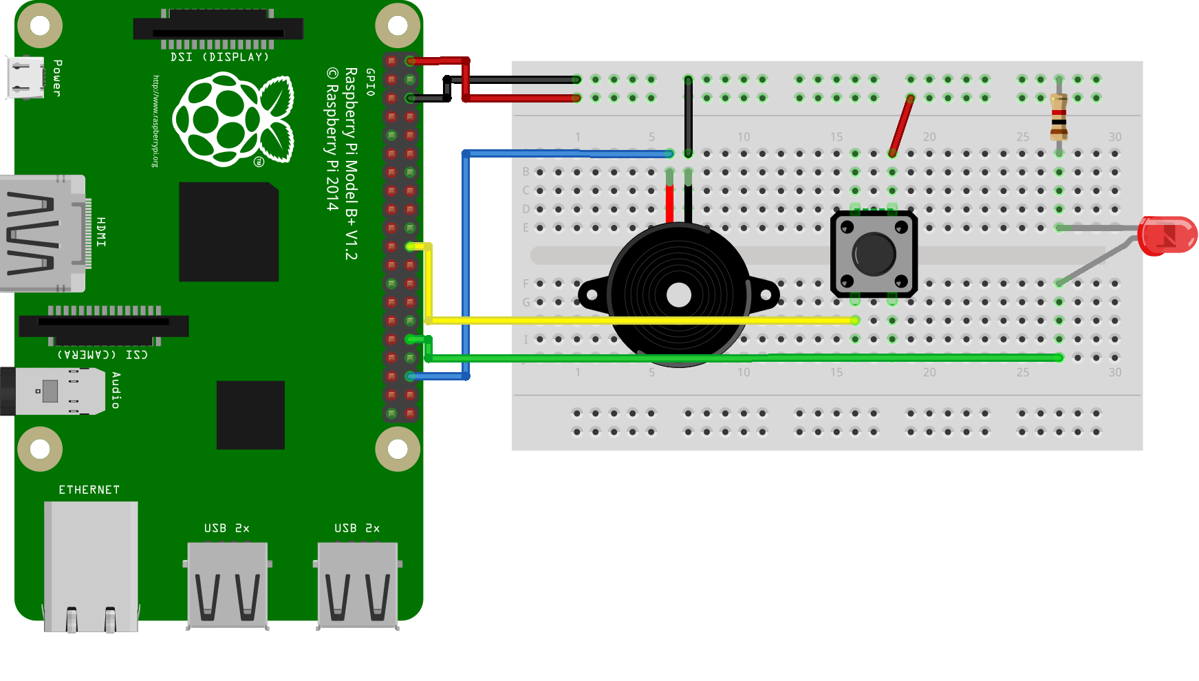 hight resolution of this wiring diagram is simply the combination of the individual led buzzer and push button circuits make sure that the led has a resistor on it