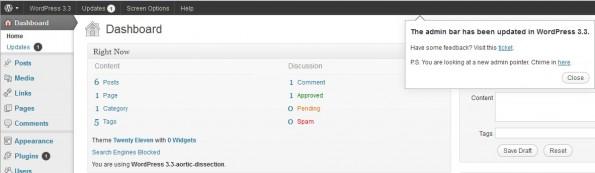 WordPress33 admin pointer admin bar 595x173 WordPress 3.3: Das bringt die neue Version