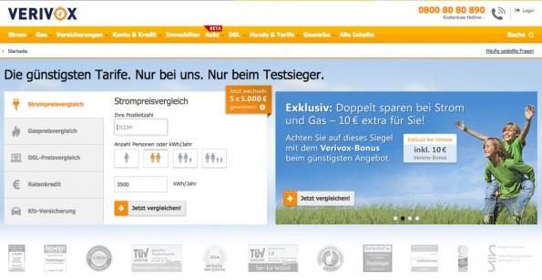 Startup-News: ProSiebenSat.1-Tochter 7Commerce hat sich 80 Prozent der Anteile an Verivox gesichert. (Screenshot: Verivox)