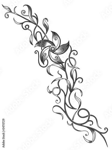 blumenranke tattoo vorlage Stock photo and royaltyfree