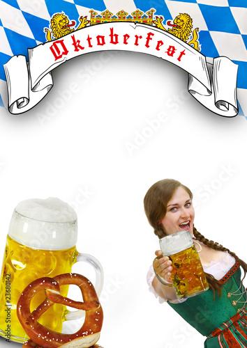 Oktoberfest Flyer  bayrisches Mdel Stockfotos und