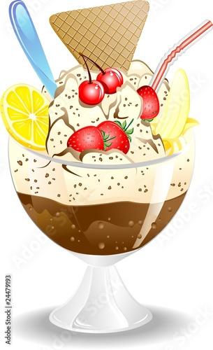 Coppa Gelato e FruttaIce Cream and FruitVector Immagini e vettoriali Royalty Free su Fotolia