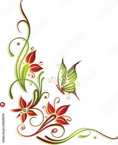 Ranke flora filigran Blumen Blten rot orange grn
