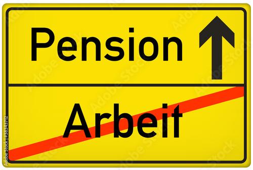 Schild Pension Arbeit Stockfotos und lizenzfreie