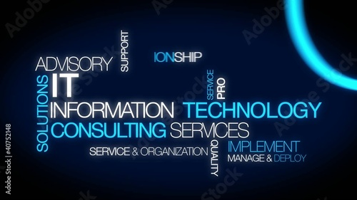 Information technology consulting IT computer tag cloud video Stock footage and royaltyfree