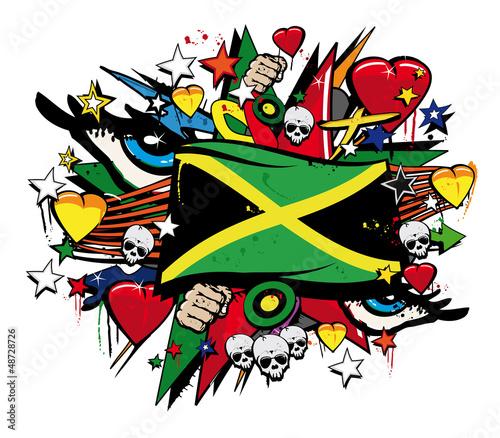 Jamaica flag jamaican graffiti flag street art